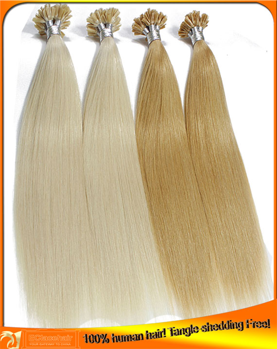 Virgin human hair pre bonded hair extensions