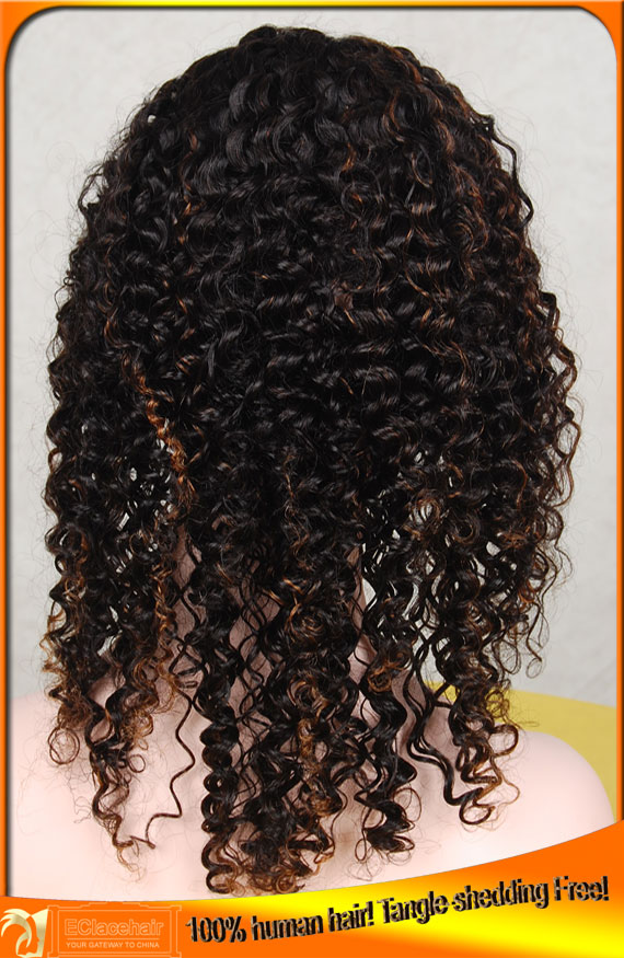 1b/30 Kinky Curl Full Lace Wigs Human Hair