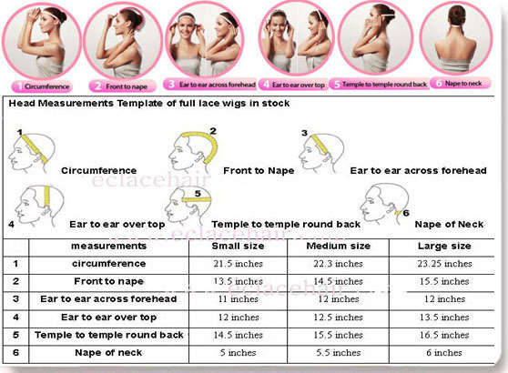measurements of lace wigs