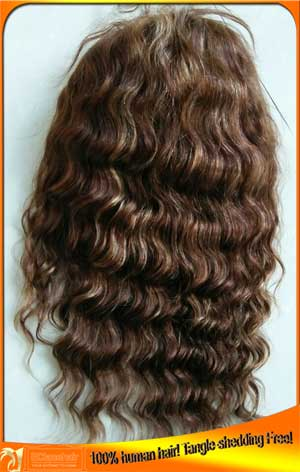 Deep wave human hair full lace wig in stock
