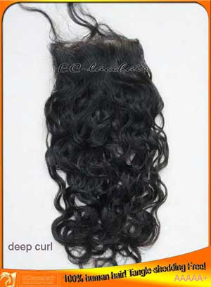 Wholesale Deep Curl Virgin Brazilian Top Closures