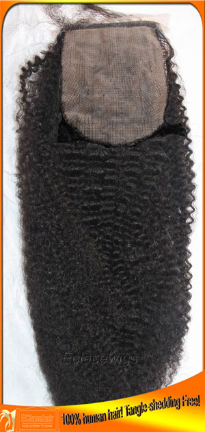 Afro Curl Brazilian Silk Top Closures in Stock,4x4