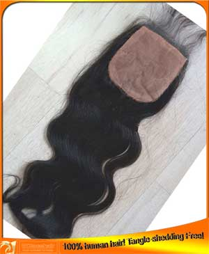 Indian Virgin Hair Body Wave Silk Top Closure 4x4