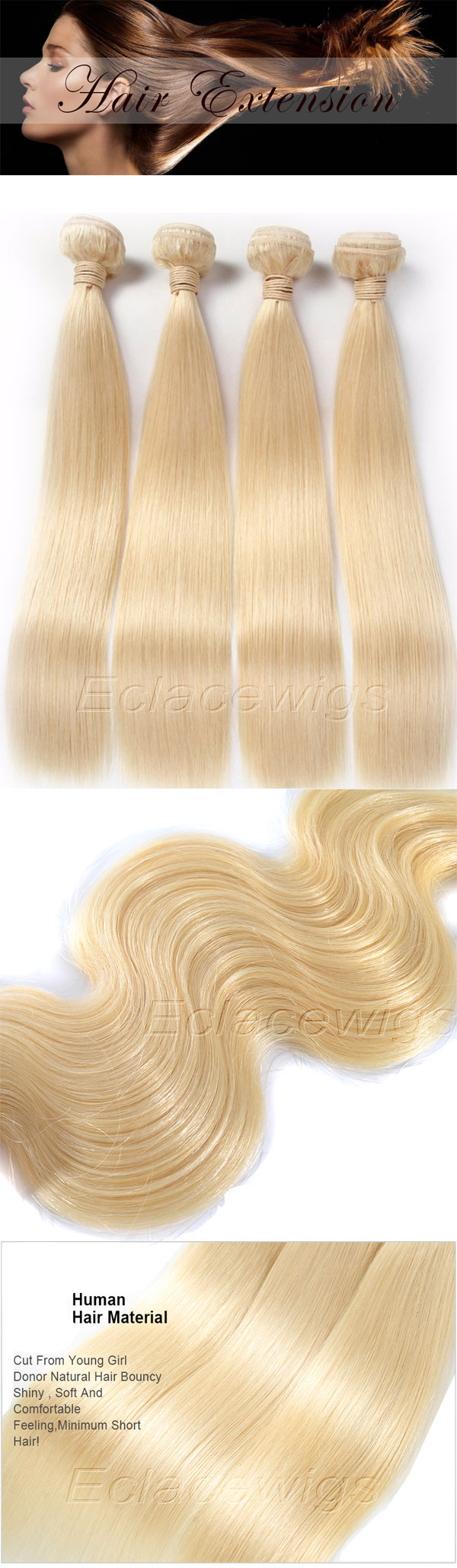 Real High Quality Brazilian Blonde 613 Hair Weave Bundles