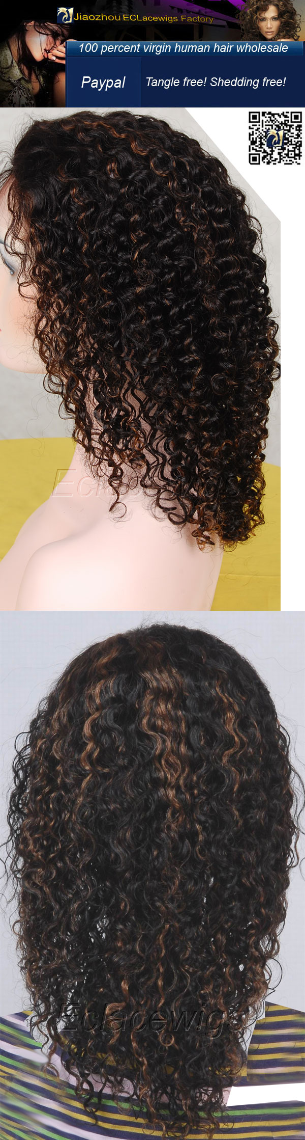 kinky curl highlight human hair wigs