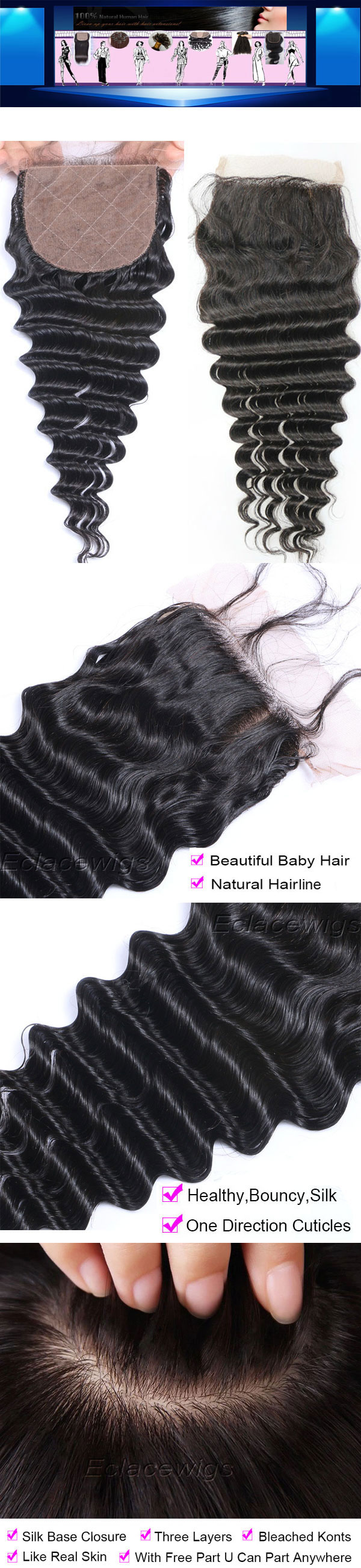 indian deep wave silk base closure