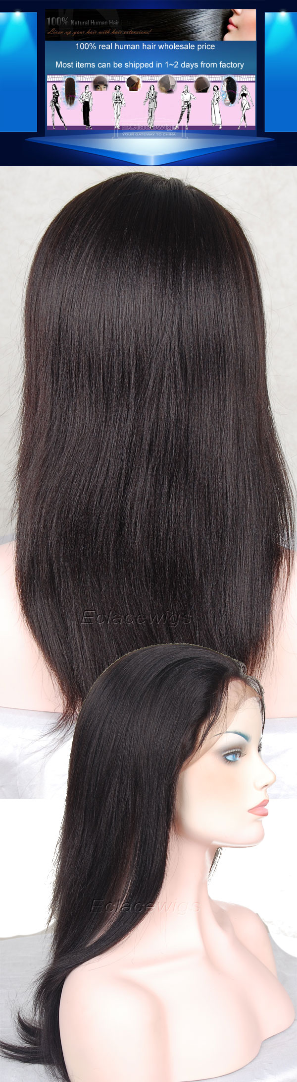 yaki straight lace wigs